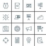Set Of Project Management Icons On Planning, Deadline, Research And More. Pre Stock Illustration