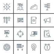 Set Of Project Management Icons On Research, Deadline, Cash Flow And More. Pr Stock Illustration