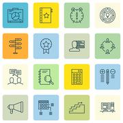 Set Of Project Management Icons On Workspace, Investment, Charts And More. Pr Stock Illustration