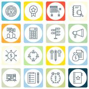 Set Of Project Management Icons On Deadline, Award, Planning And More. Premiu Stock Illustration
