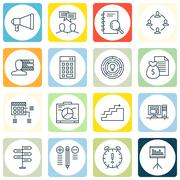 Set Of Project Management Icons On Deadline, Personality, Charts And More. Pr Stock Illustration