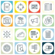 Set Of Project Management Icons On Investment, Task List, Cash Flow And More. Stock Illustration