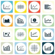 Set Of Graphs, Diagrams And Statistics Icons. Premium Quality Symbol Collecti Stock Illustration