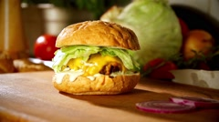 Burger in slow motion Stock Footage