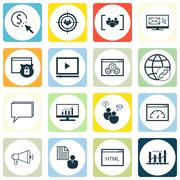 Set Of SEO, Marketing And Advertising Icons On Link Building, Client Brief, O Stock Illustration