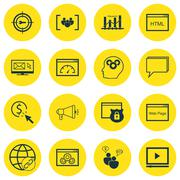 Set Of SEO, Marketing And Advertising Icons On SEO Consulting, HTML Code, Foc Stock Illustration