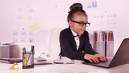 Little business girl working Stock Footage