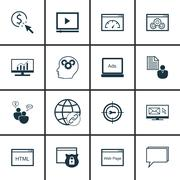 Set Of SEO, Marketing And Advertising Icons On Website Optimization, Link Bui Stock Illustration