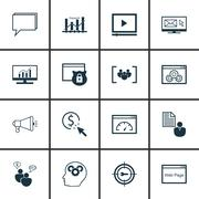 Set Of SEO, Marketing And Advertising Icons On Client Brief, Online Consultin Stock Illustration