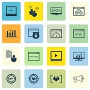 Set Of SEO, Marketing And Advertising Icons On Website Optimization, Viral Ma Stock Illustration