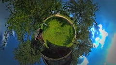 Little Tiny Planet 360 Degree Man on Footpath Between Cottages Huts Rural Opole Stock Footage