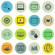 Set Of SEO, Marketing And Advertising Icons On Audience Targeting, Target Key Stock Illustration