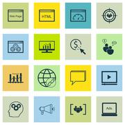 Set Of SEO, Marketing And Advertising Icons On SEO Consulting, Audience Targe Stock Illustration