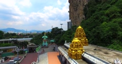Aerial view of the Entrance Shrine at Batu Caves Stock Footage
