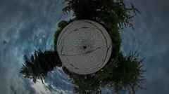 Little Tiny Planet 360 Degree Square in Park People Family Father and Kid Are Stock Footage