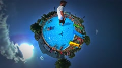 Little Tiny Planet 360 Degree Kids Father Aqua Park in Youth Day Opole Children Stock Footage