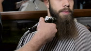 Young bearded man getting beard haircut by hairdresser at barbershop Stock Footage
