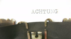 Typewriter macro achtung Stock Footage