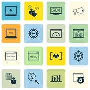 Set Of SEO, Marketing And Advertising Icons On Video Advertising, Audience Ta Stock Illustration