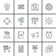 Set Of Project Management Icons On Deadline, Promotion, Cash Flow And More. P Stock Illustration