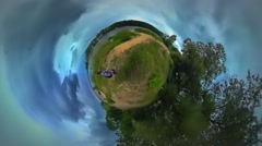 Little Tiny Planet 360 Degree Man Backpacker Walking by Footpath Woodland in Stock Footage