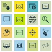 Set Of SEO, Marketing And Advertising Icons On Target Keywords, Online Consul Stock Illustration