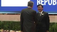 Lee Hsien Loong and Laos PM Stock Footage