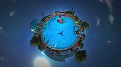 Little Tiny Planet 360 Degree Kids in Aqua Park Looking Into Camera and Smiling Stock Footage
