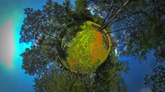 Little Tiny Planet 360 Degree Old Wooden Houses Among the Trees Rural Opole Stock Footage