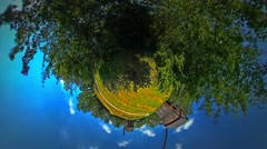 Little Tiny Planet 360 Degree Mills on the Field in August September Rural Stock Footage