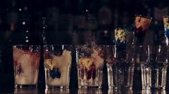 Bartender tricks in slow motion Stock Footage