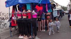 Ecuador market - Otavalo south america Stock Footage
