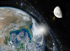 Montage of the earth, the galaxy and the moon. Elements of this image furnish Stock Photos