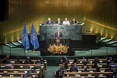 US Secretary of State John Kerry at UN General Assembly Stock Photos