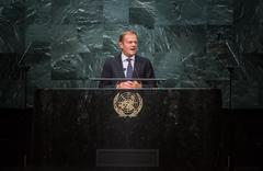 Donald Tusk, President of European Council at UN General Assemblys Stock Photos