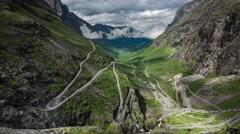 Timelapse Troll's Path Trollstigen or Trollstigveien winding mountain road. Stock Footage