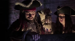 Pirate find hidden treasures Stock Footage