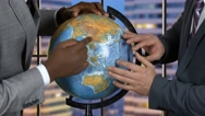 Hands of men touch globe. Stock Footage