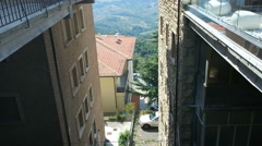 Panorama of San Marino and Italy from Monte Titano. View between two houses Stock Footage