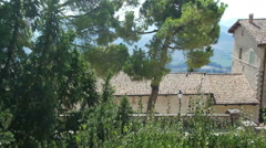 Panorama of San Marino and Italy from Monte Titano Small park in the city center Stock Footage