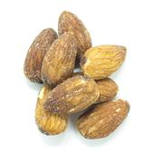 Dried brown Almonds protein snack on top view Stock Photos