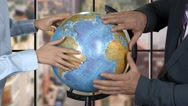 People touching globe. Stock Footage