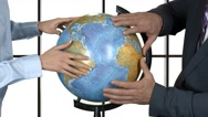 Hands of people touch globe. Stock Footage