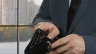 Hands of businessman open wallet. Stock Footage