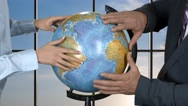 People are touching globe. Stock Footage