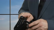 Hand of businessman holds dollar. Stock Footage