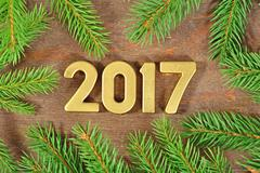 2017 year golden figures and a spruce branch Stock Photos