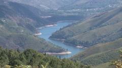 River between mountain pine tree forest in Serra da Peneda gerês Portugal Stock Footage