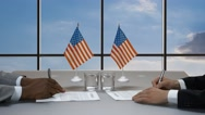Hands sign papers at desk. Stock Footage
