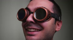 4K Young Man With Funny Goggles Stock Footage